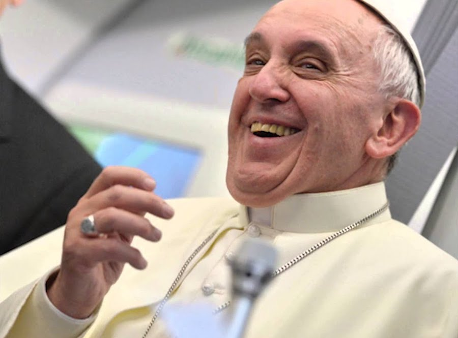 pope laughing