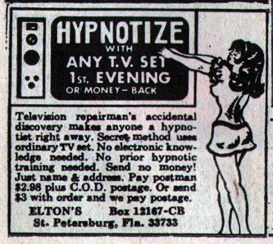 comic hypnosis ad t.v.