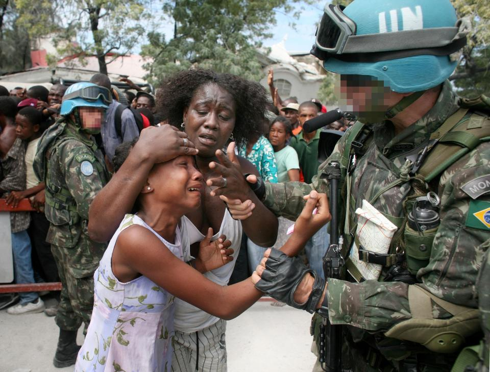 UN Blue Helmet with Child