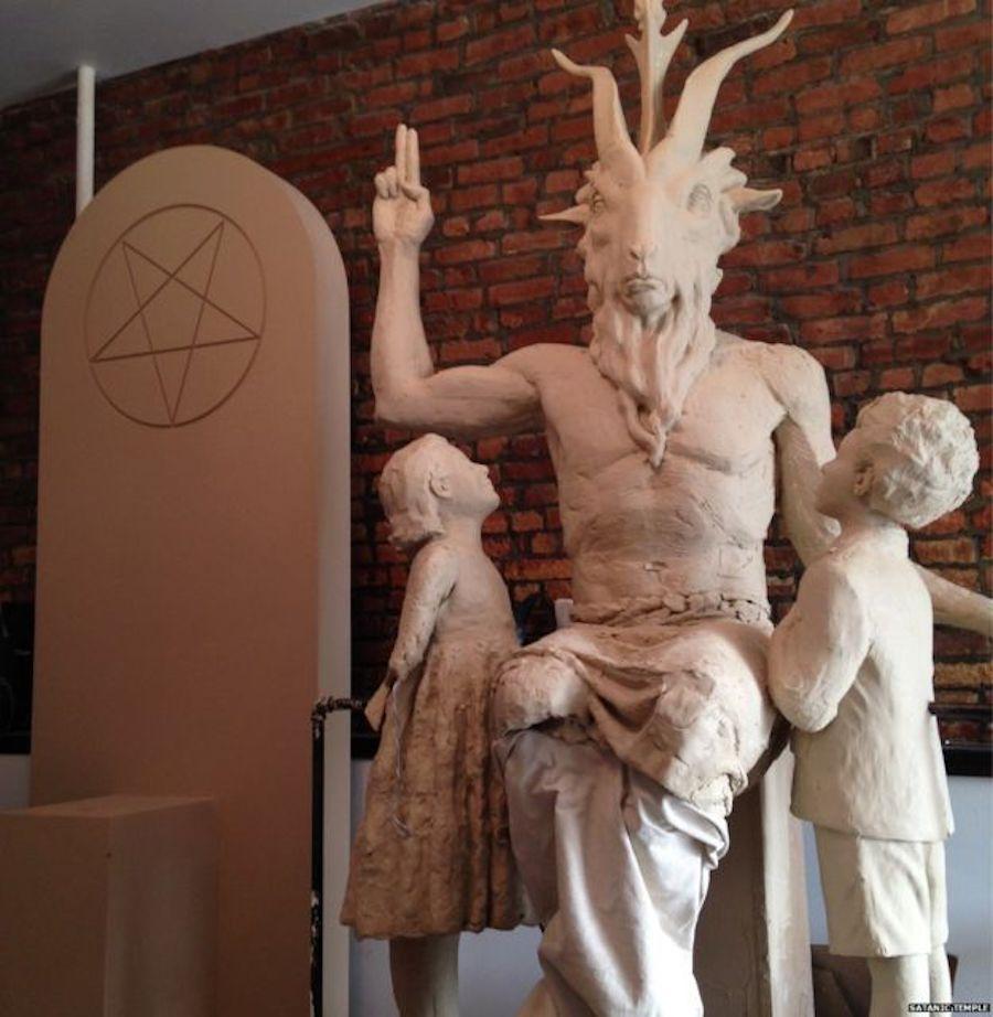 baphomet statue handsign pentagram