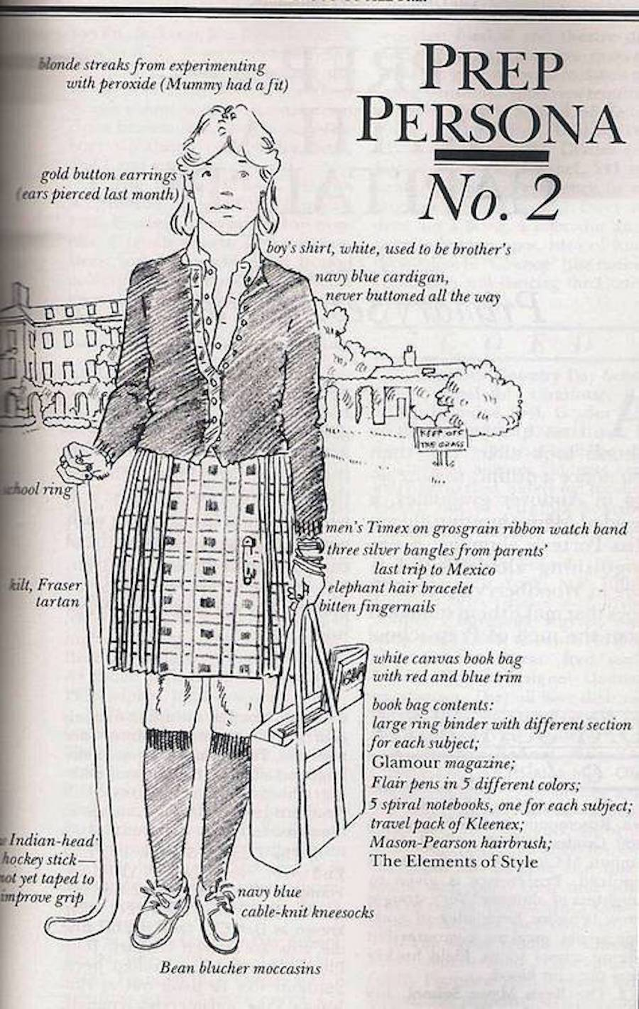preppy handbook persona 2 (boarding school girl)