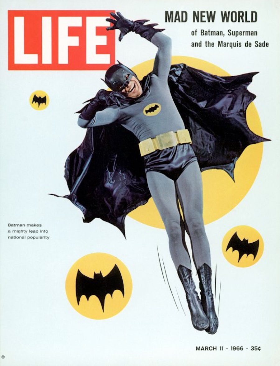 Used LIFE 3-11-1966 cover of Adam West as superher
