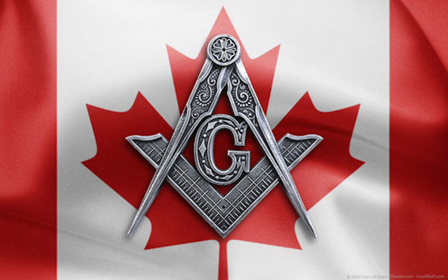canadian flag masonic square and compass