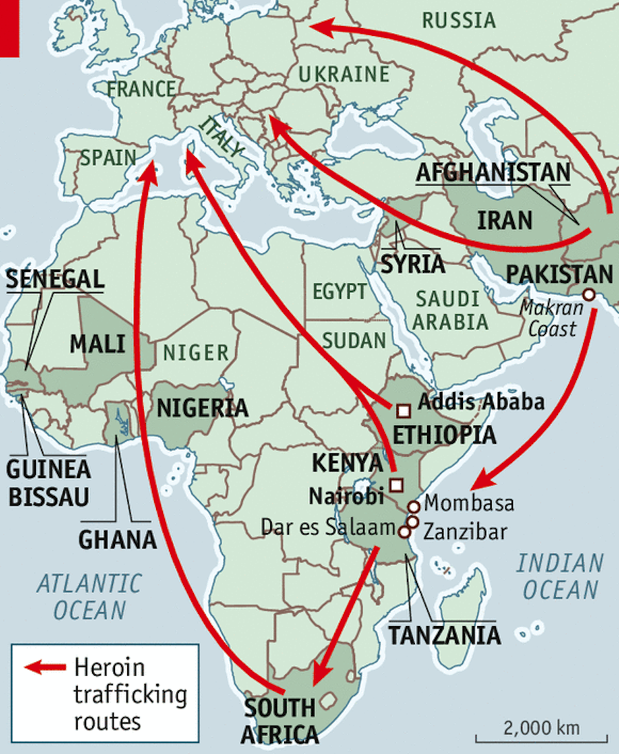 heroin trafficking routes africa