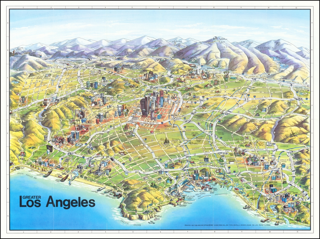 map (topographical) of los angeles