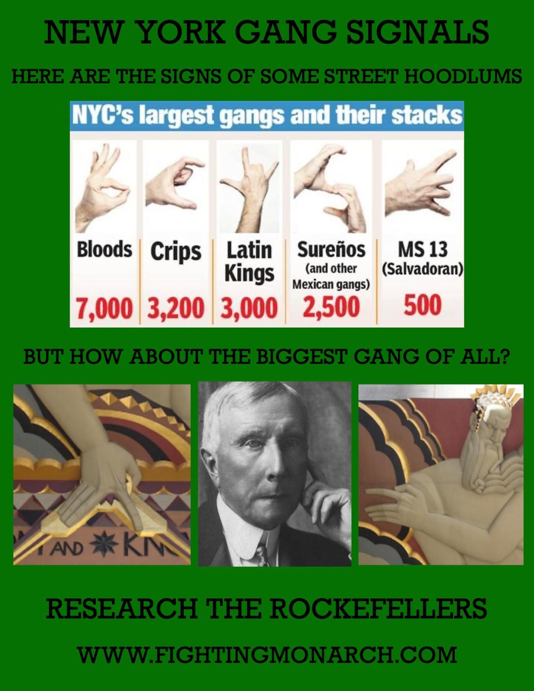 Rockefeller Gang Hand Signs