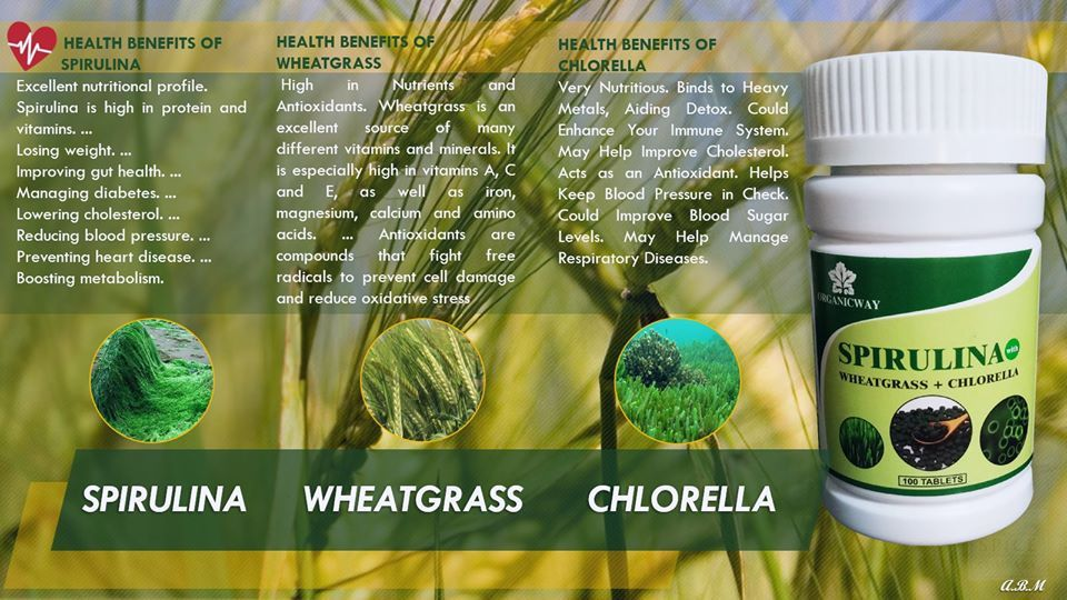 spirulina chlorella wheatgrass green superfoods